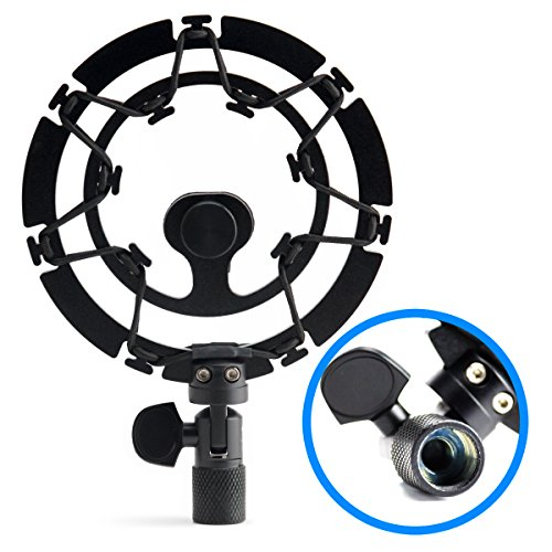 Black Shock Mount For Blue Yeti and Blue Snowball Mics Eliminates Noise From External Vibration