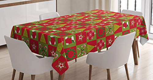 - Ambesonne Christmas Tablecloth, Fireplace Socks for Surprise Stars Ornaments Triangle Pines Image, Dining Room Kitchen Rectangular Table Cover, 52 W X 70 L Inches, Olive Green