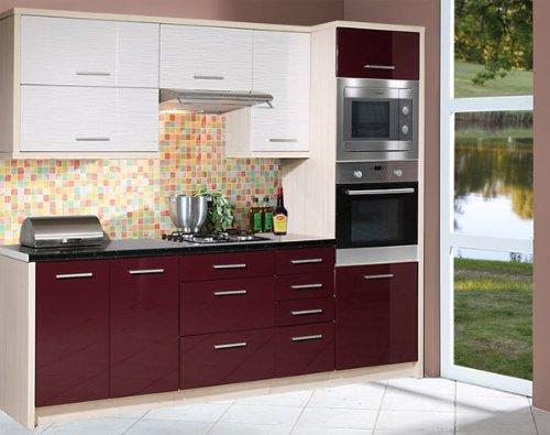 Küchenzeile Küchenblock 1633 jersey / violett + white stripes Hochglanz 260cm