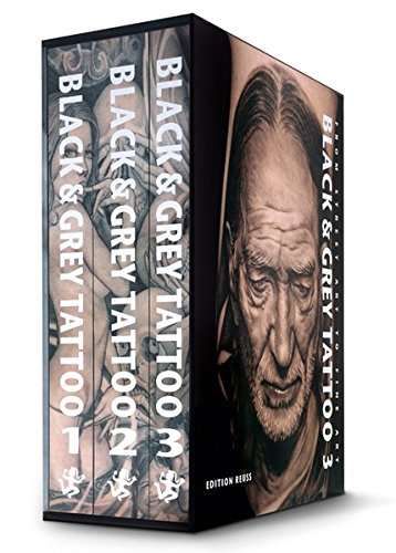 BLACK & GREY TATTOO is a mammoth work. Comprising over a thousand pages and weighing 10kg (22lbs), it is one of the larges tattoo book sever published! It's three large-format volumes are contained inside a lavish and sturdy hardcover box. BLACK ...