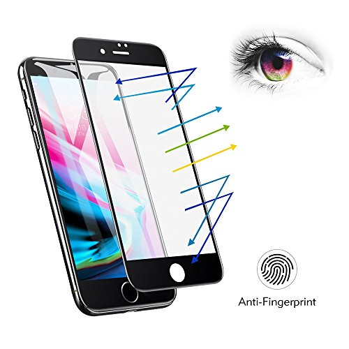 (iPhone 7 iPhone 8 Matte Screen Protector Tempered Glass, Benks Anti-Glare Anti-Fingerprint Protective Film with 3D Full Coverage Soft Curve Edge Unbreakable Frame (Black for iPhone 8 7, 4.7-Inch))