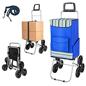 Kanchimi Shopping Cart with Wheels,150 lbs Heavy Duty Cart for Stair Climber,2in1 Foldable Grocery Cart with 50L Shopping Bag,Utility Cart with 360°Rotating Handle and Adjustable Elastic Rope(Blue)