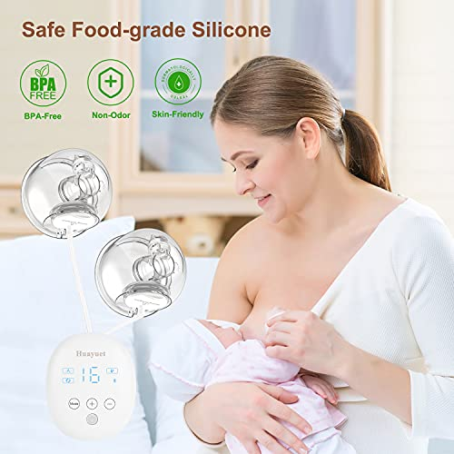 Huayuet Wearable Breast Pump Hands Free Double Portable Breast Pumps 16 Levels Suction Breastfeeding Milk Collector Electric Breastpump|Wireless|Adjustable|Rechargeable|BPA Free Silicone Pump
