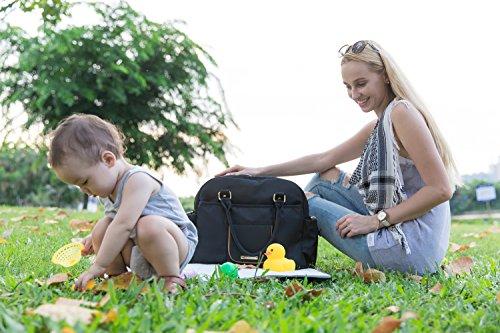 mommore nailon bolsa transversal bolso cambiador Bolso para pañales con cambiador, con correa para el hombro, cochecito Ganchos azul azul oscuro negro