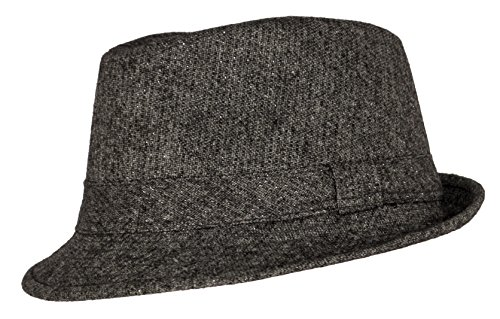 Premium Solid Color Wool Fedora Hat Grey Silver Shimmer Cuban Cap Derby Short (Mobster Costumes For Dogs)