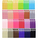 Mudder 100 Pieces Ribbon Hair Ties Ponytail Holder Hair Bands Elastic Hair Accessories, Assorted Colors