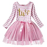 Baby Girls Toddler Kids Princess Long Sleeve Dress 1st/2nd/3rd Birthday Cake Smash Shiny Printed Striped Tulle Tutu Dress Party Outfit Pink