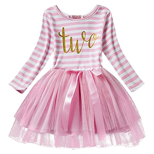 IWEMEK Baby Girl Princess Long Sleeve Shinny Stripe Crown Printed 1st/2nd/3rd Birthday Cake Smash Tulle Tutu Skirt Dress, Pink (2 Years), One Size (Best Pics Of Birthday Cakes)