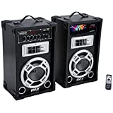 Pyle Dual 800 Watt Powered PA Bluetooth Speaker System Disco Jam Two-Way DJ Speakers | karaoke machine | USB/SD Card Readers, FM Radio, 3.5 mm AUX Input (Active & Passive Speakers)(PSUFM837BT)