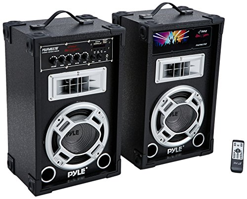 Pyle Dual 800 Watt Powered PA Bluetooth Speaker System Disco Jam Two-Way DJ Speakers | karaoke machine  | USB/SD Card Readers, FM Radio, 3.5 mm AUX Input (Active & Passive Speakers)(PSUFM837BT) - Active 8' 2 Way