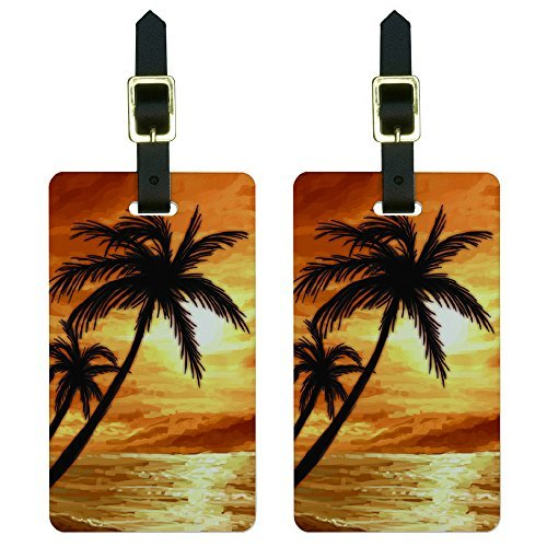 Trees and Sunset Orange-Beach Tropical Ocean Luggage Tags Id, White (Palm Tags)