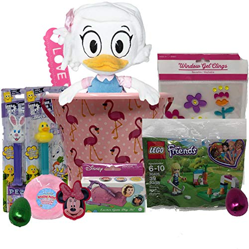 Easter Basket for Kids ~DuckTales Plush, Minnie Mouse Figural Easter Eggs Filled with Candy, Pez Candy, Princess Easter GEM DIG IT Toy, Spring Window Cling & More (Pink) ()