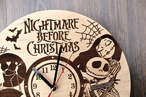 Jack Skellington Sally Nightmare before Christmas Design Real Wood Wall Clock - Eco Friendly Natural Nursery Wall Decor - Creative Gift Idea for Teens and Youth by Wood Crafty Shop (Image #5)