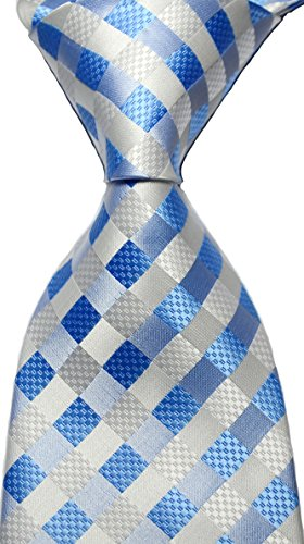 NEW EXT Collectino 100% Silk Necktie Classic Men's Checks Tie (Blue/White)