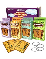 Math Flash Cards Set of 4 packs: Multiplication , Division , Addition , Subtraction FlashCards With Rings , Kids Educational Learning Games Kindergarten Homeschool Supplies Materials, All Ages & Grade