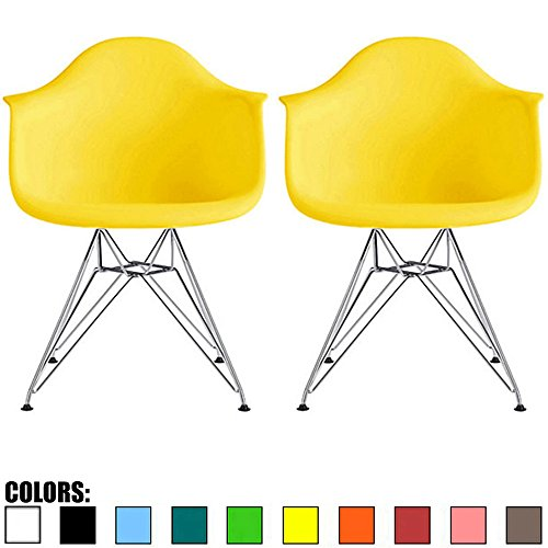 2xhome Set of 2 Yellow Mid Century Modern Vintage Designer Molded Shell Plastic Armchair with Arms Back Chrome Wire Metal Base Eiffel Dining Chairs Living Room Accent Dowel Office Guest -