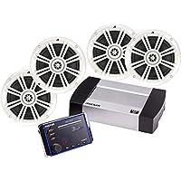 Kicker Bundle of 5 items KMC20 In-Dash KM Series Marine Premium Digital Media Receiver with 41BKM604W 6-1/2 KM Series 2-Way Speakers White (2 Pairs)