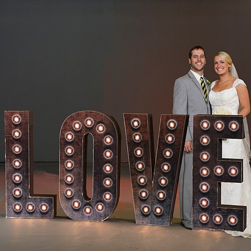 4 ft. 3 in. Industrial Chic Lighted 3D Love Letters Standup Photo Booth Prop Background Backdrop Party Decoration Decor Scene Setter Cardboard Cutout