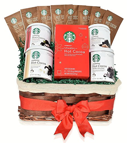 Starbucks Christmas Hot Cocoa Mixed Gift Basket - 5 Different Flavors - Double Chocolate, Peppermint, Salted Caramel, Marshmallow, Classic Hot Cocoa - Christmas Gift Pack for Family, Friends, Him, Her