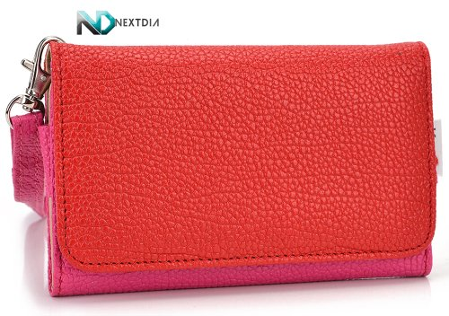 Intex Turbo3.5 Phone Wallet Cover Case (Hot Pink Magenta Crimson Red) + ND Velcro Tie