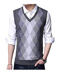 Cromoncent Men's V-Neck Argyle Sweater Waistcoat Sleeveless Casual Knitted Vest