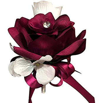 Amazon burgundy and ivory silk rose hand tie 2 dozen roses pin corsage burgundy white artificial roses and hydrangea pin included mightylinksfo Choice Image