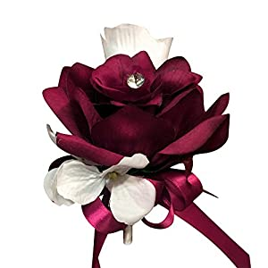 Angel Isabella Pin Corsage - Burgundy White Artificial Roses and Hydrangea. Pin Included 13