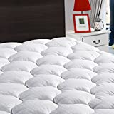 "Overfilled Fitted Mattress Pad Cover(8-21""Deep Pocket)-Cooling Mattress Topper with Snow Down Alternative Fill(Cal King, White)"