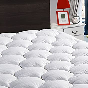 "Overfilled Fitted Mattress Pad Cover(8-21""Deep Pocket)-Cooling Mattress Topper with Snow Down Alternative Fill(King, White)"