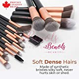 Benols Beauty 18PCS Makeup Brush Set Kabuki Brushes Synthetic Foundation Blending Blush Makeup Brushes,Face Eyeliner Shadow Brow Concealer Lip Brush Kit (Rose Gold)