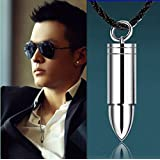 Fashion Men Silver Steel Bullet Pendant Necklace Chain Cool Jewelry Gift
