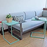 Cheap Set of 2 Nesting Table C Table for Living Room, Patio, End Side Table, Sturdy and Fully Assembly, with C Shape Metal Frame Coffee Table, Turquoise