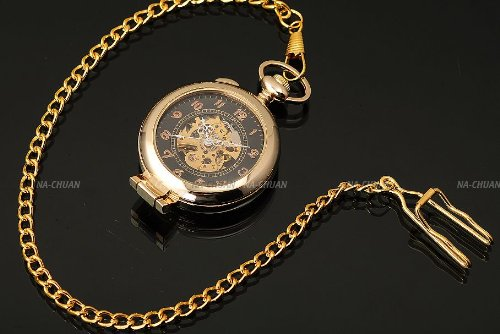 AMPM24 Unique Golden Magnifier Skeleton Mechanical Men's Pocket Watch Chain Gift WPK022 by AMPM24 (Image #3)