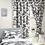 Price Right Home Grey Army Camouflage Lined Curtains 66in (168cm) x 54in drop (137cm)