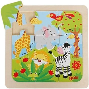 Goki Juego de Mesa Puzzle Madera 9 Piezas Grandes Modelo Selva ...