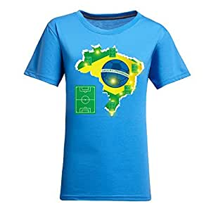 Brasil 2014 FIFA World Cup Theme Short Sleeve T-shirt,Football Background Womens Cotton shirts for Fans Blue
