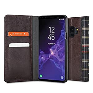 Samsung Galaxy S9 Wallet Case - PU Faux Leather Style Book - Olixar X-Tome - with Card Storage Slots and Built in Media Viewing Stand - Wireless Charging Compatible - Brown