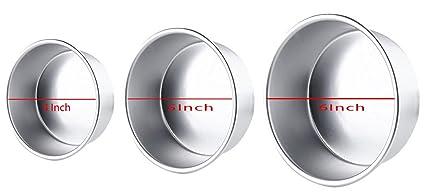 Prime Enterprises Anodized Aluminum Round Tin Cake Bakeware Tool, 4, 5 and 6-inch, Multicolour- Set of 3