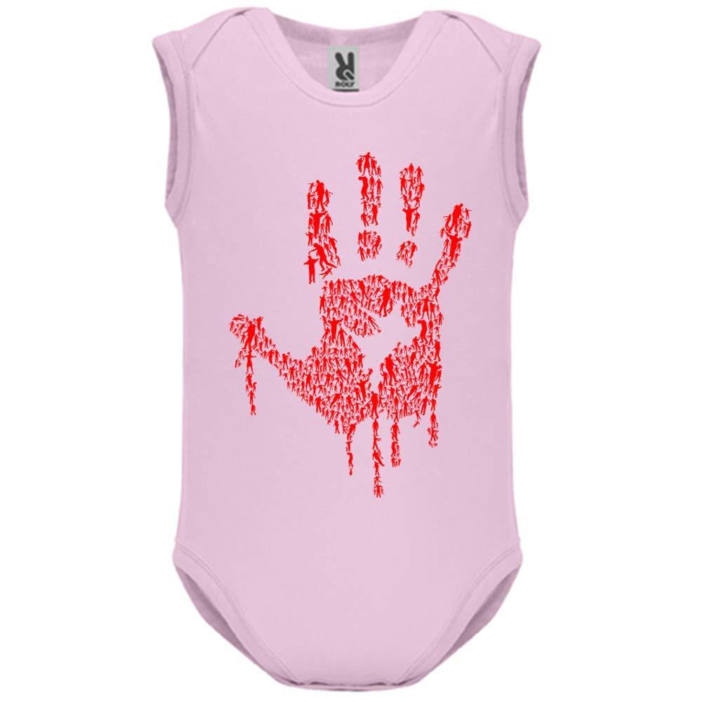 LookMyKase Body bébé - Manche sans - Hand of Zombies - Bébé Fille - Rose - 9MOIS
