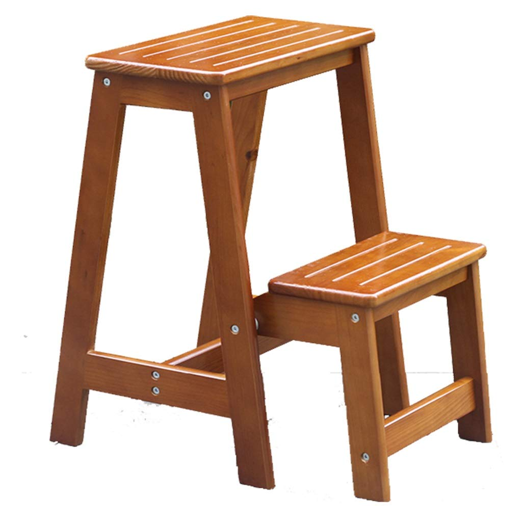BLRYP Non-slip step stool Solid Wood Household Folding Ladder Stool - Dual-use Indoor Ladder Wooden Ladder Chair For shoes Bench Ladder Ladder Wooden Ladder Ascending Stool Slip resistant,durable,House