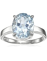 Sterling Silver Oval Blue Topaz Ring, Size 6