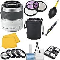 Nikon 1 NIKKOR 30-110mm f/3.8-5.6 VR - White (Brand New, White Box Packaging) Digideals4less Lens Bundle Kit with 3pc De