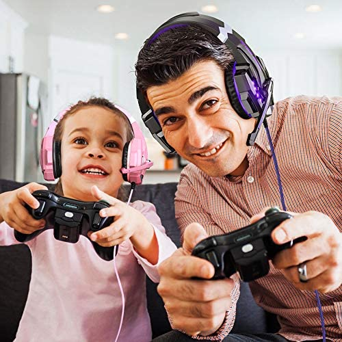 BENGOO G9000 Stereo Gaming Headset for PS4, PC, Xbox One Controller, Noise Cancelling Over Ear Headphones with Mic, LED Light, Bass Surround, Soft Memory Earmuffs (Purple) 51wv3KalzKL