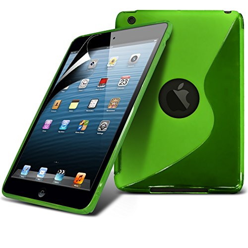 Apple Ipad Mini Green S Line Wave Gel Case Skin Cover With LCD Screen Protector Guard, Polishing Cloth by Fone-Case