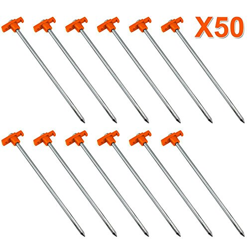 Yaheetech 50 Heavy Duty Metal Tent Pegs/Stakes Aluminium Hard Ground Pegs Lightweight Rock/Camping Pegs Alloy Tent…