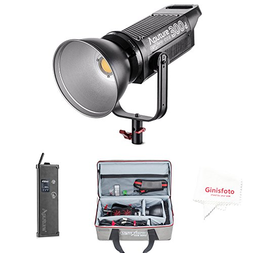 Aputure COB 300D LS C300D Daylight Balanced Led Video Light CRI95+ TLCI96+ 48000lux@0.5M Bowens Mount 2.4G Remote Control Low Noise V-Mount Plate with Canvas Bag and Ginisfoto Clean Cloth