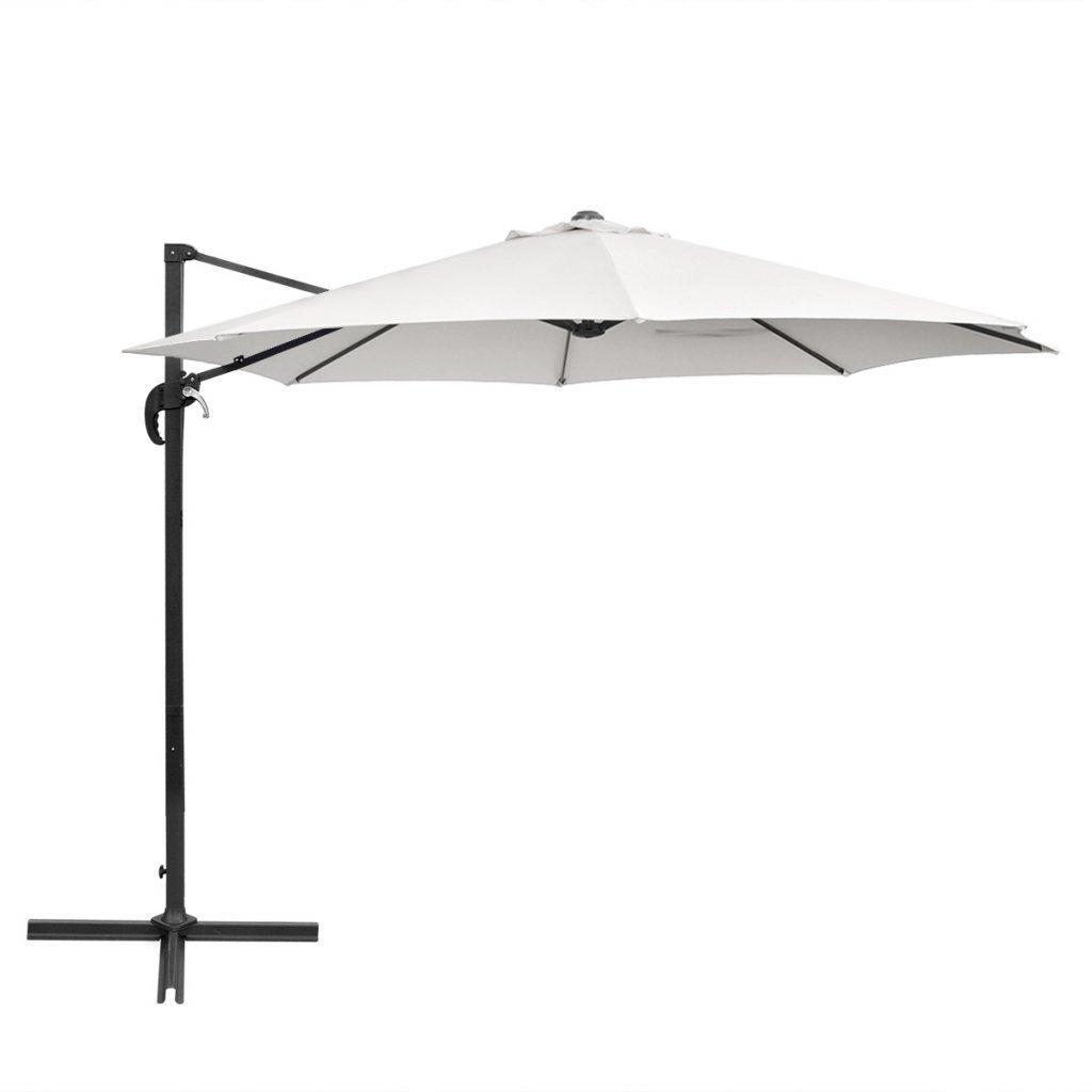 db3af65ffa1ae vidaXL Cantilever Umbrella 3 m Round Aluminium Sand White Outdoor Parasol:  Amazon.co.uk: Kitchen & Home