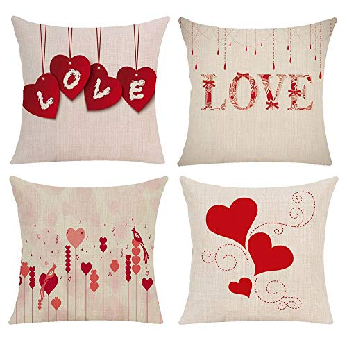 Pack of 4 Happy Valentine's Day Decorative Red Pillow Covers Love Heart Series Burlap Square Couple Cushion Cases for Sofa Bedroom Car 18x18 Inch