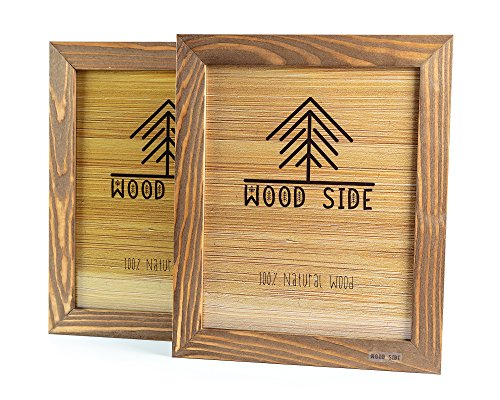 (Rustic Wooden Picture Frame 5x7 Inch - Set of 2- Natural Distressed Wood with Real Glass for Wall and Table Top Display - Walnut)