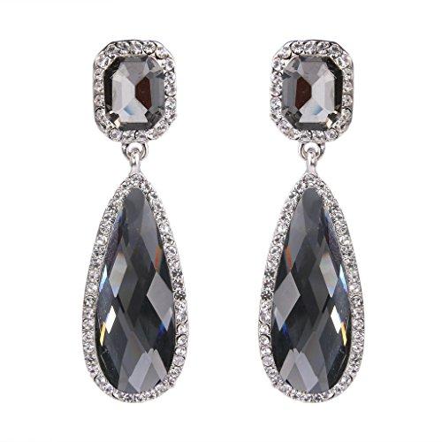 BriLove Women's Wedding Bridal Crystal Asscher Cut Elongated Teardrop Infinity Figure 8 Dangle Earrings Grey Black Silver-Tone